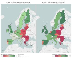 visualisatie van het bezit van kredietkaarten in Europa