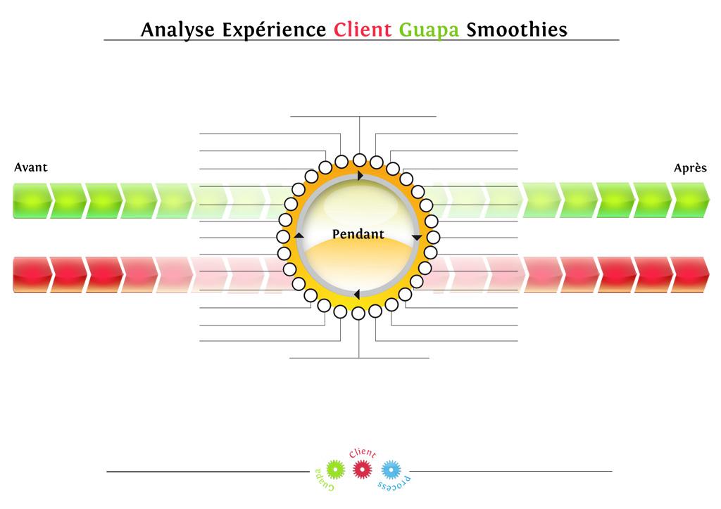 schéma de l'analyse de l'expérience client pour une marque de smoothies