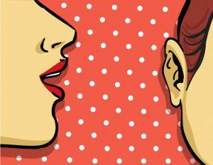 dessin d'une bouche près d'une oreille