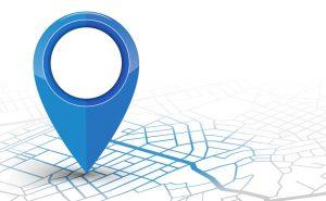 marqueur sur une carte géographique symbolisant le bon emplacement pour un commerce
