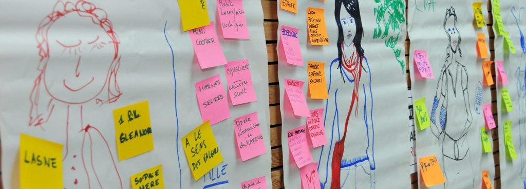 personae créées lors d'une séance de Design Thking en Belgique