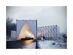 RAW:almond – outdoor pop-up restaurant on a frozen river