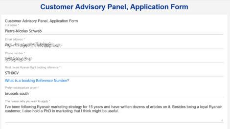 application Ryanair customer advisory panel