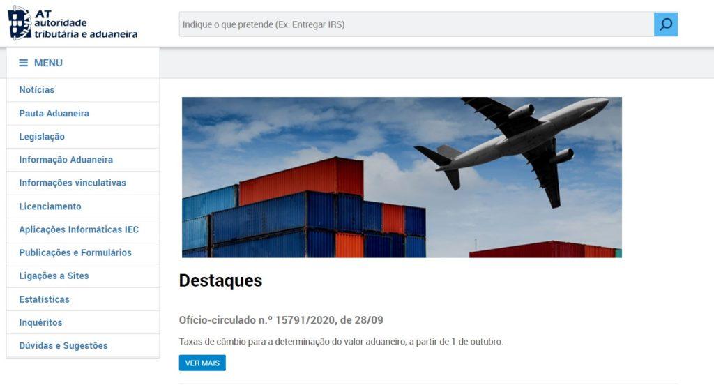 """Onglet """"Informations douanières"""" du portail des douanes portugaises"""