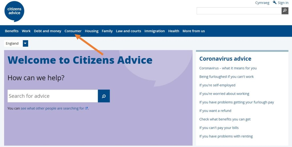 screenshot of the platform citizens advice