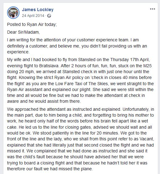 The complaint letter posted by James Lockley on Facebook.