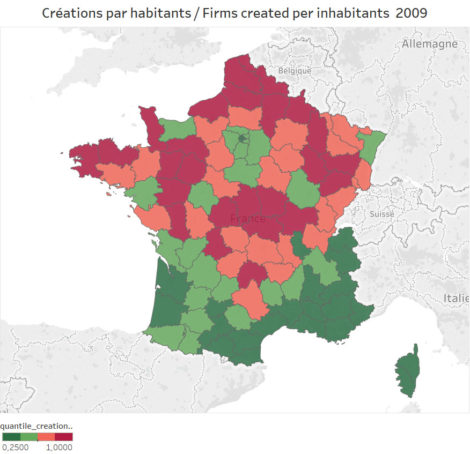 business creations per inhabitant in metropolitan France in 2009.
