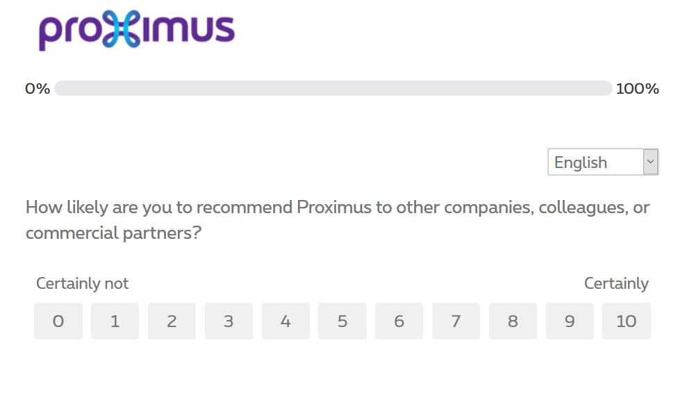 Net Promoter Score question at Proximus