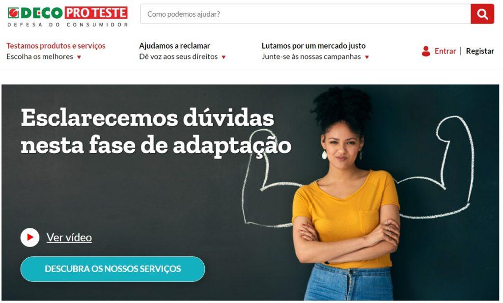 Homepage de deco proteste, association pour la défense des consommateurs au Portugal