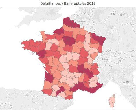 défaillances d'entreprises en France par département en 2018
