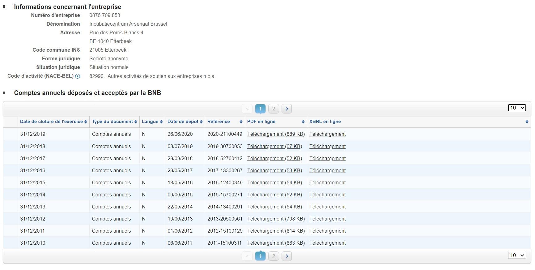 Simulation d'une demande de bilan sur le site de la BNB (Banque Nationale de Belgique)