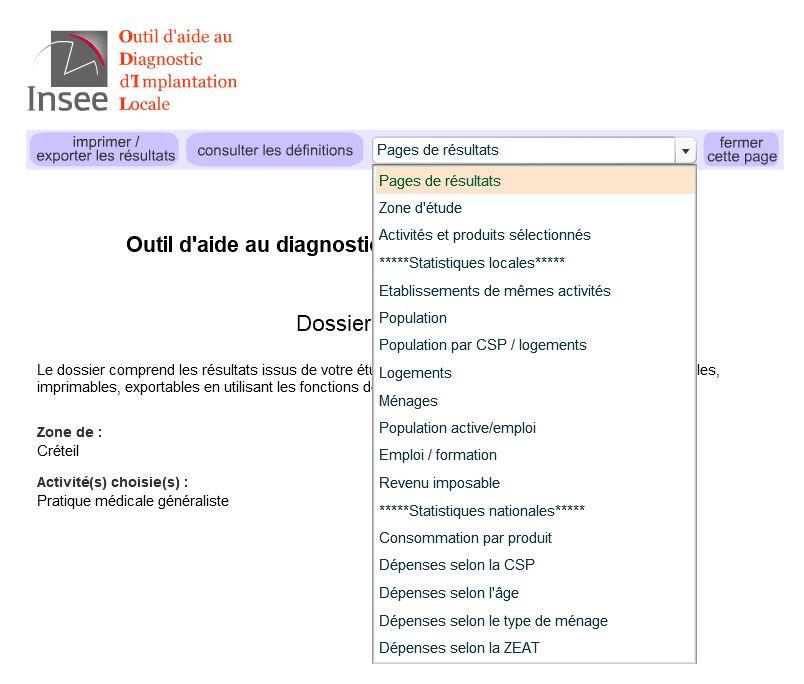 liste des statistiques disponibles dans ODIL