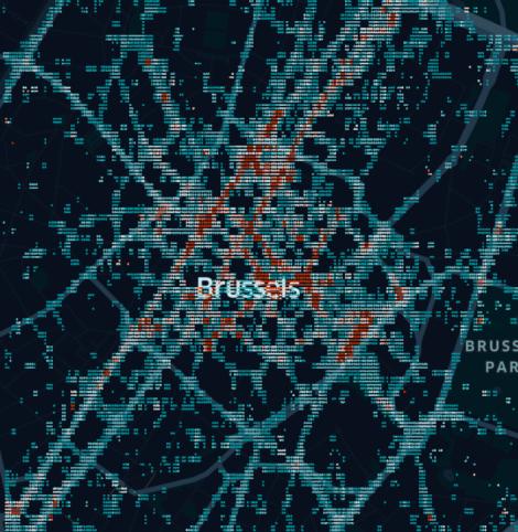 carte des flux de piétons à Bruxelles, Belgique