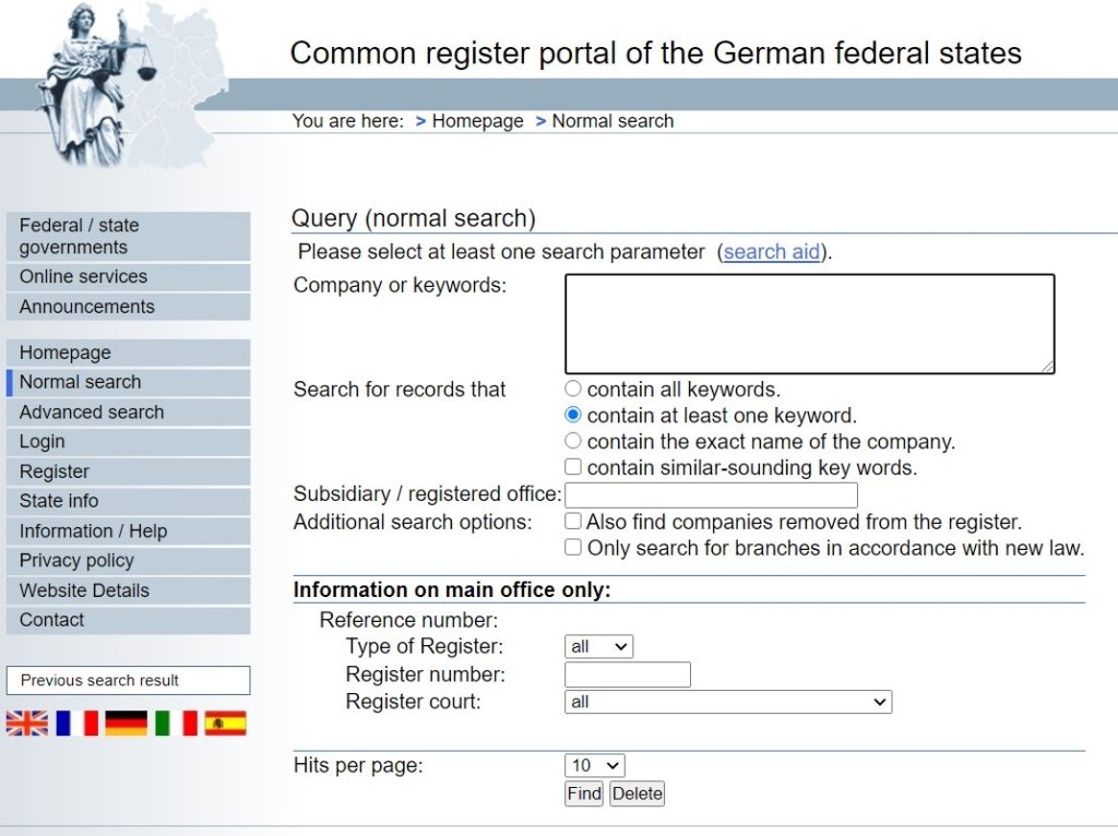 Common register portal of the German federal states to search for a company and its data