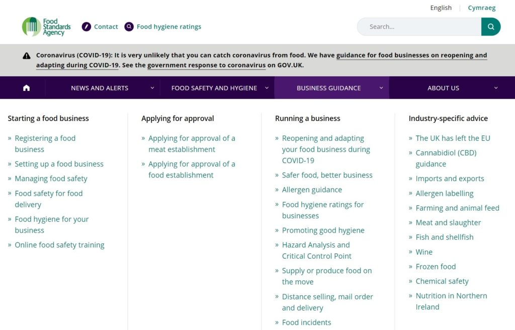 List of themes addressed on the Food Standards Agency's webiste