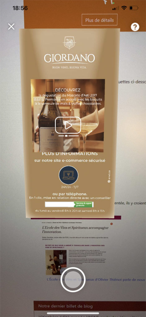 augmented reality label by giordano wine