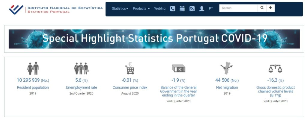 instituto nacional de estatistica, homepage de l'institut national des statistiques au Portugal