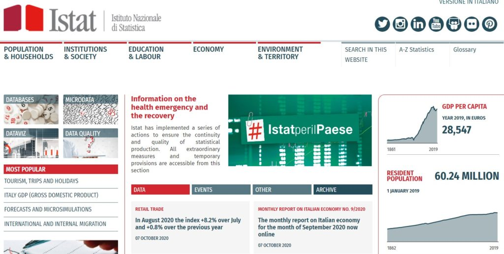 Homepage istat (Istituto Nazionale di Statistica)