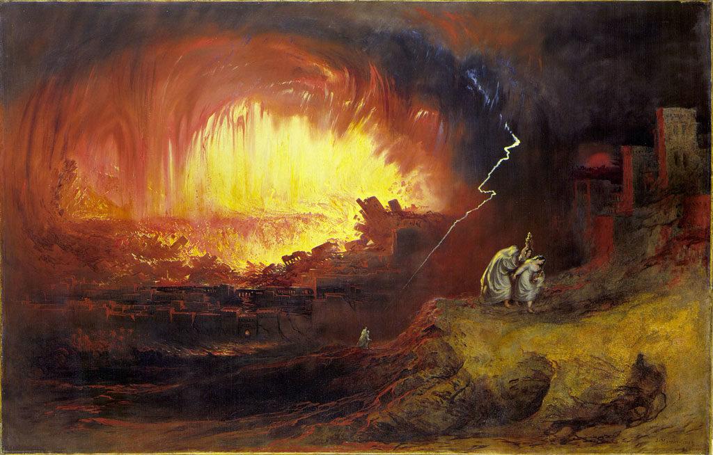 Sodome et Gomorrhe, détruites par le souffre et le feu. John Martin (1852)