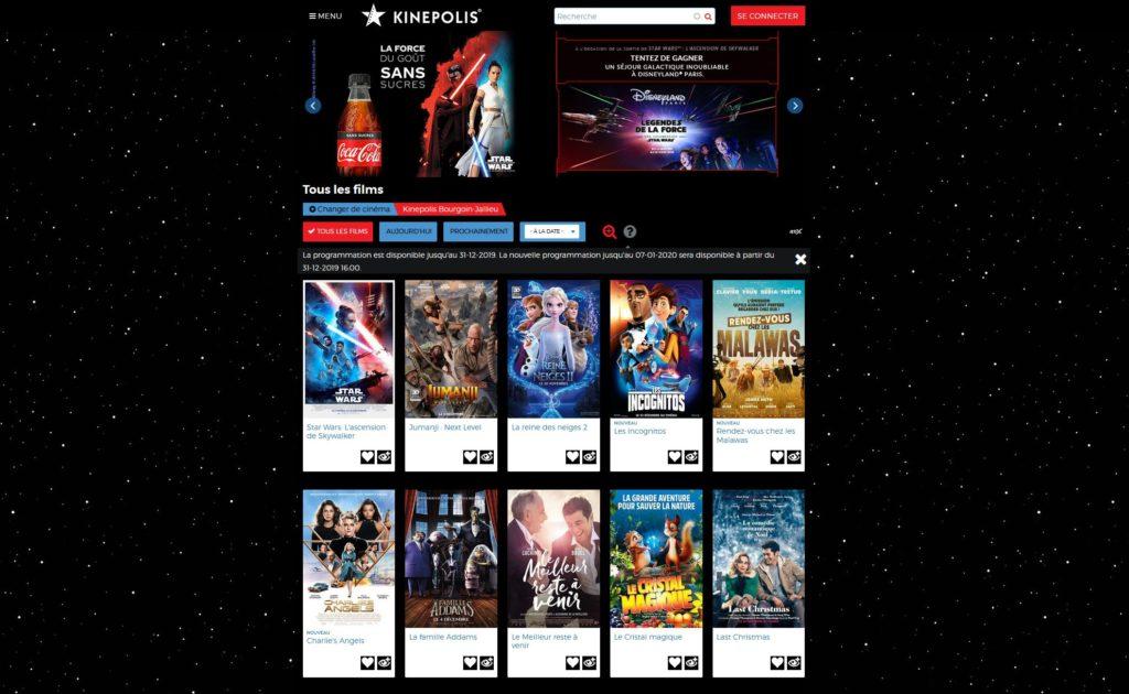 site kinepolis pour la sortie de Star Wars 9