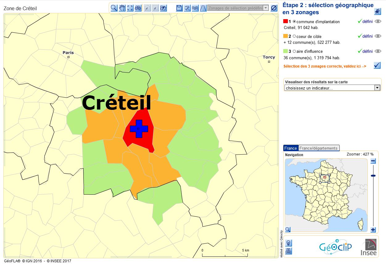 commune d'implantation, cœur de cible et zone d'influence sous ODIL.