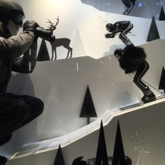 Moncler's Christmas etalages in Soho.