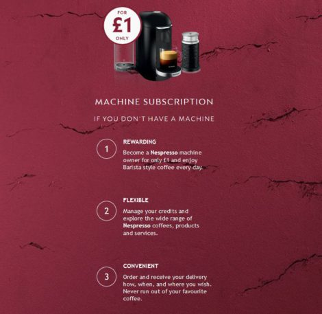 Nespresso subscription offer in the UK