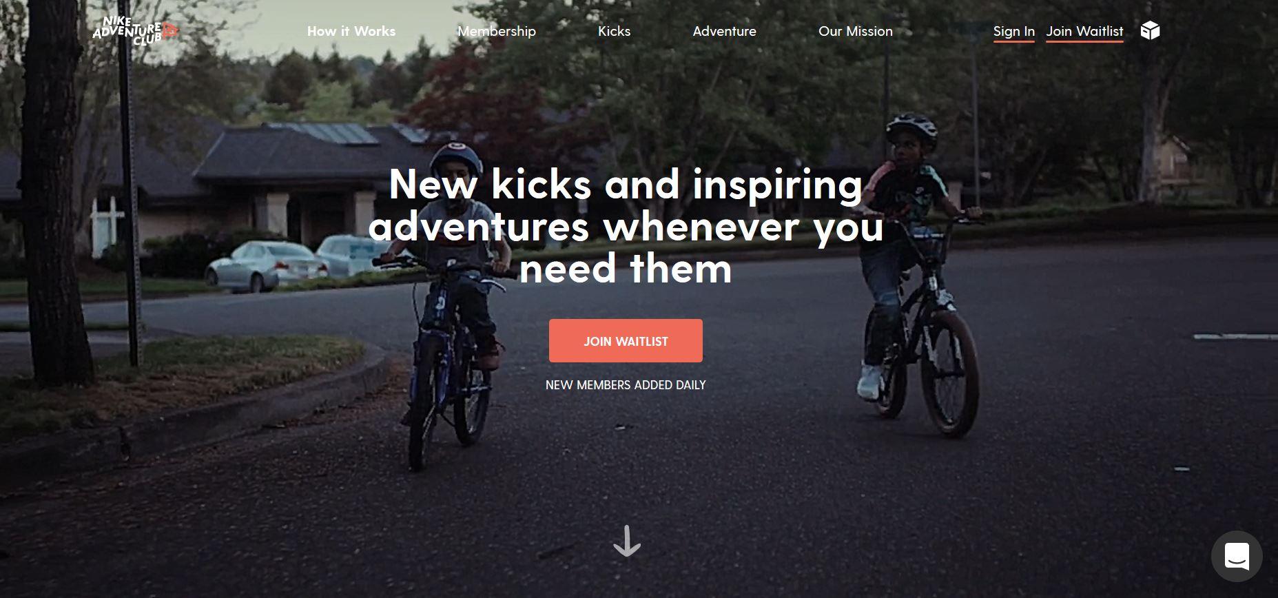 Nike adventure club homepage