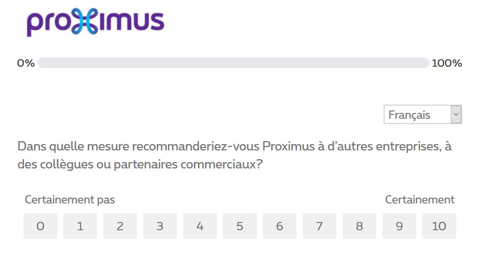 NPS dans questionnaire satisfaction proximus