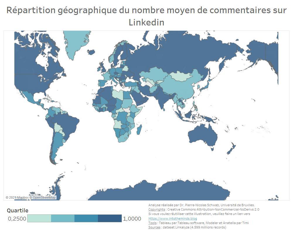 nombre moyen de commentaires par post linkedin par pays