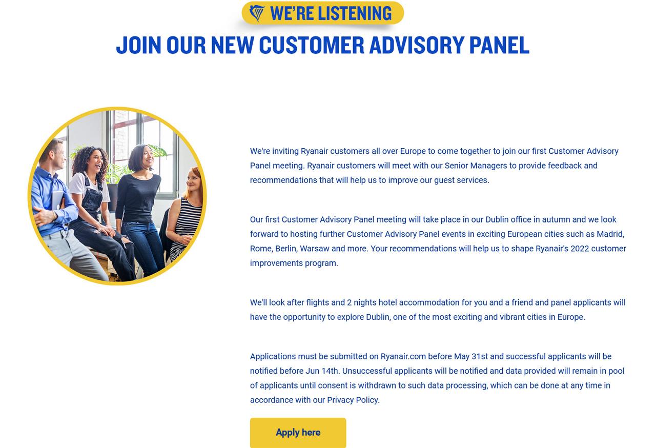 ryanair customer advisory panel