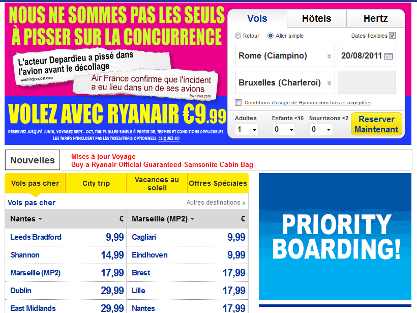 Ryanair pisse sur la compétition