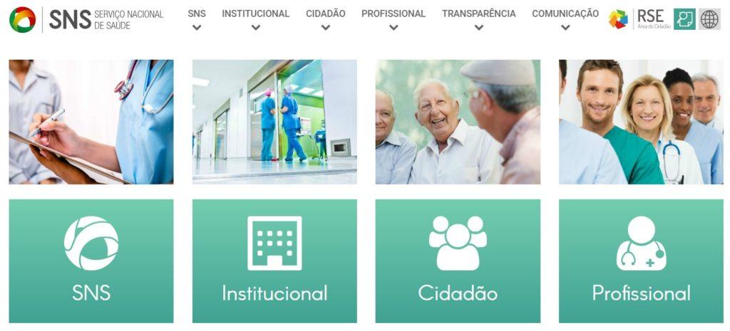 Page d'accueil du SNS, service national de la santé