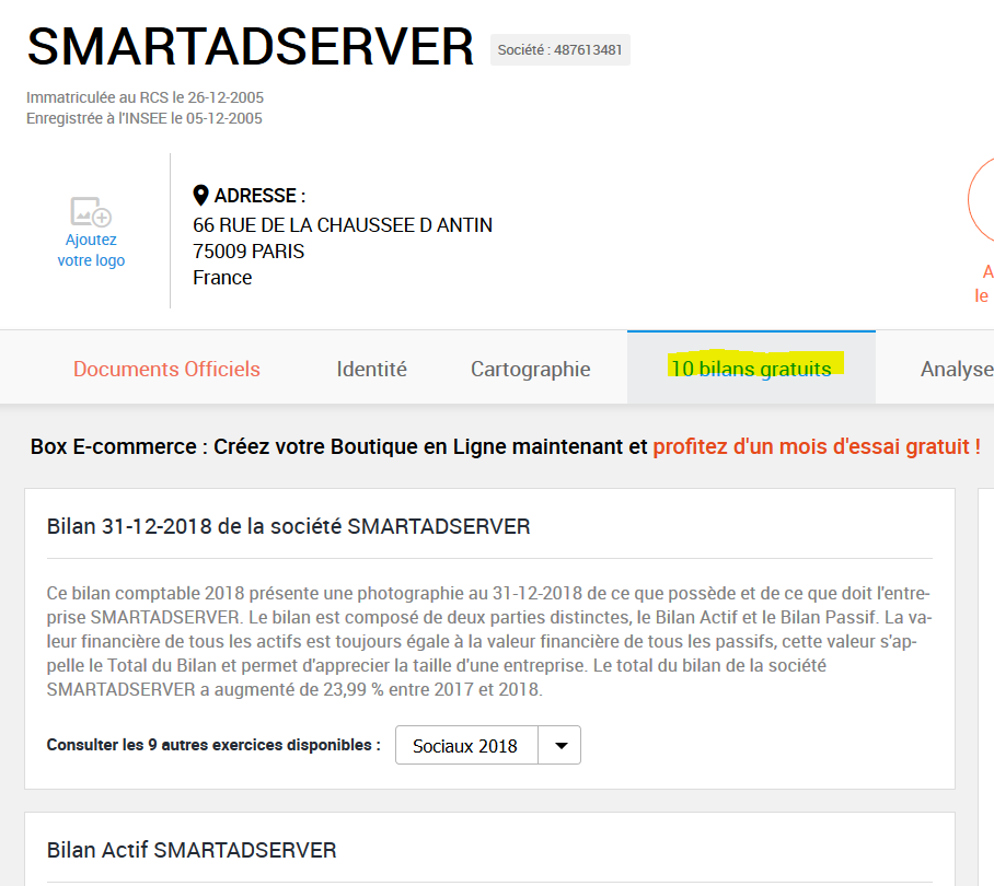 Screenshot of a data marketing site for French companies