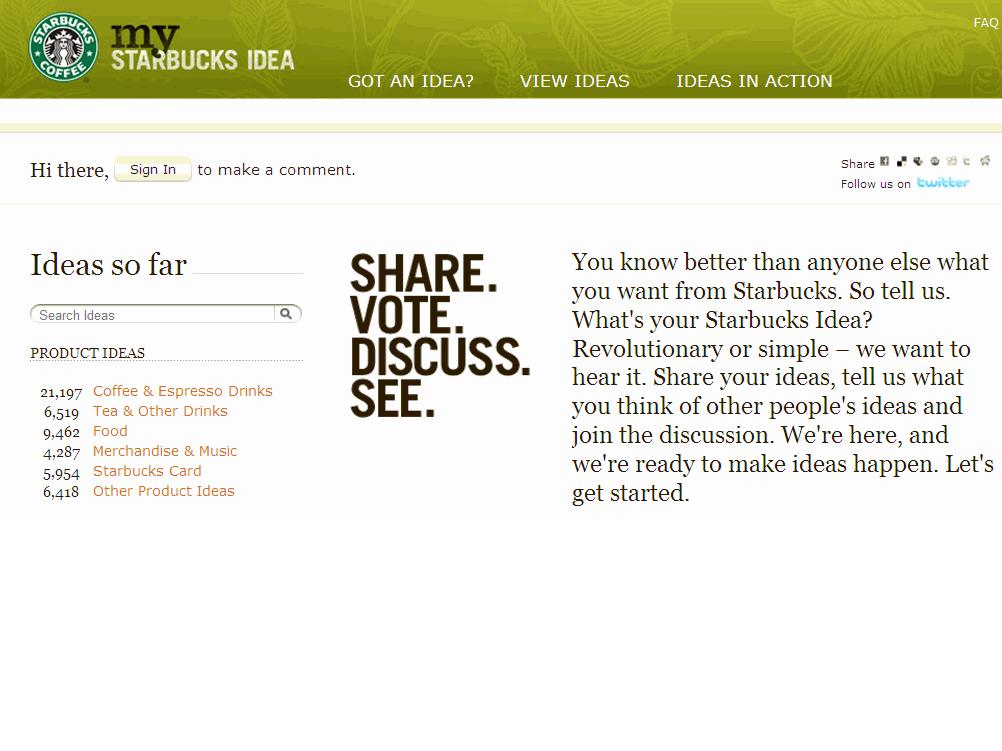 MyStarbucksIdea.com : la co-creation poussée à l'extrême