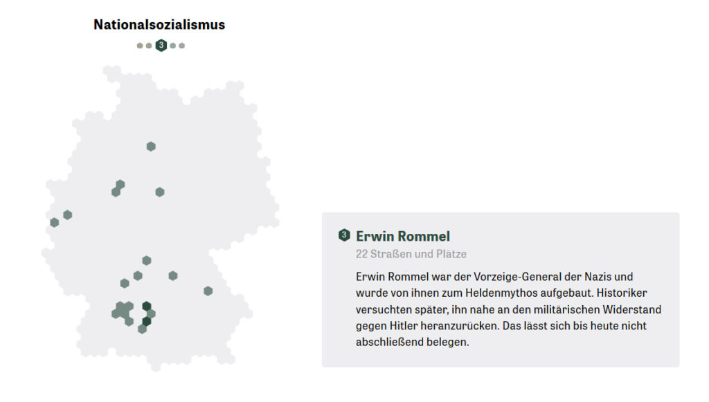 22 streets are named in Germany after Erwin Rommerl, the nazi general