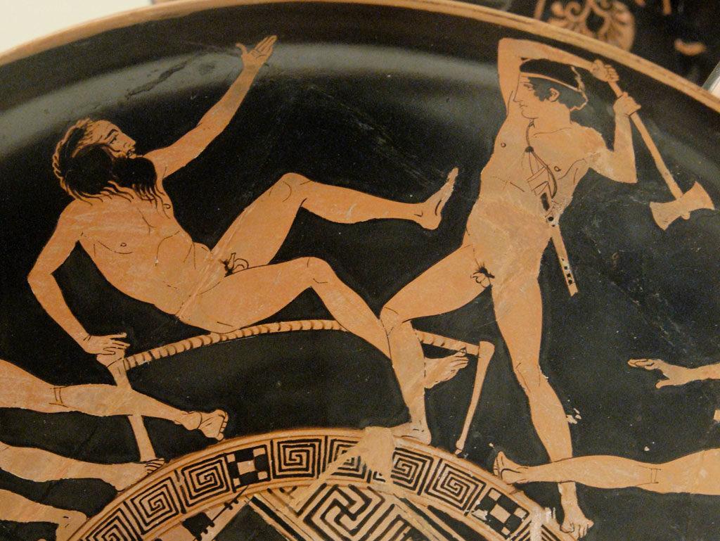 Theseus fighting Procuste