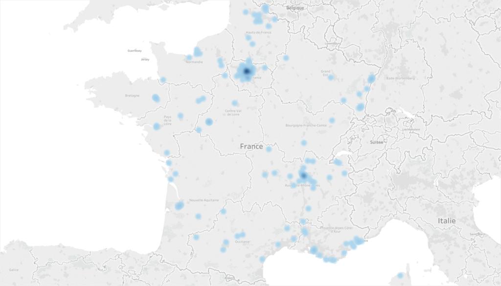 Répartition géographique des ventes de voitures de luxe aux entreprises françaises