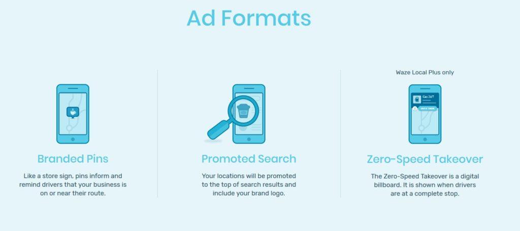 formats publicitaires de waze